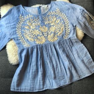 [Sundance] Floral Embroidered Babydoll Top
